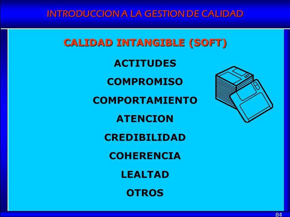 INTRODUCCION A LA GESTION DE CALIDAD 84 CALIDAD INTANGIBLE (SOFT) ACTITUDES COMPROMISO COMPORTAMIENTO ATENCION CREDIBILIDAD COHERENCIA LEALTAD OTROS