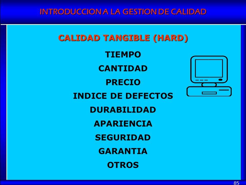 INTRODUCCION A LA GESTION DE CALIDAD 85 CALIDAD TANGIBLE (HARD) TIEMPO CANTIDAD PRECIO INDICE DE DEFECTOS DURABILIDAD APARIENCIA SEGURIDAD GARANTIA OT