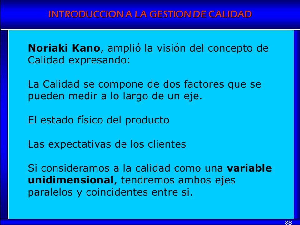 INTRODUCCION A LA GESTION DE CALIDAD 88 Noriaki Kano, amplió la visión del concepto de Calidad expresando: La Calidad se compone de dos factores que s