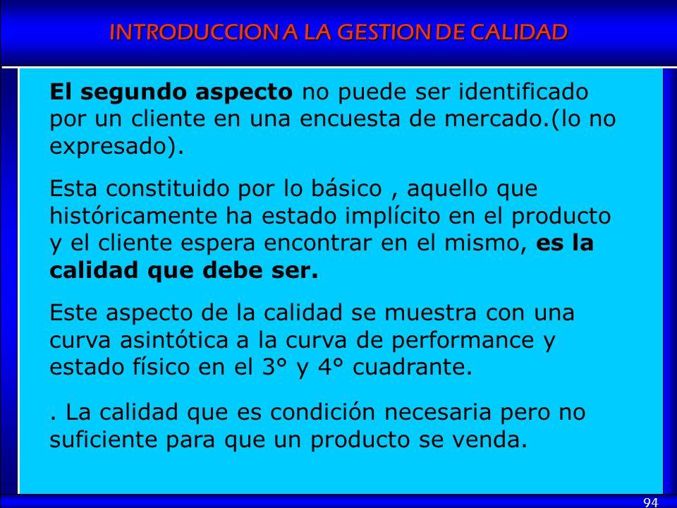 INTRODUCCION A LA GESTION DE CALIDAD 94 El segundo aspecto no puede ser identificado por un cliente en una encuesta de mercado.(lo no expresado). Esta