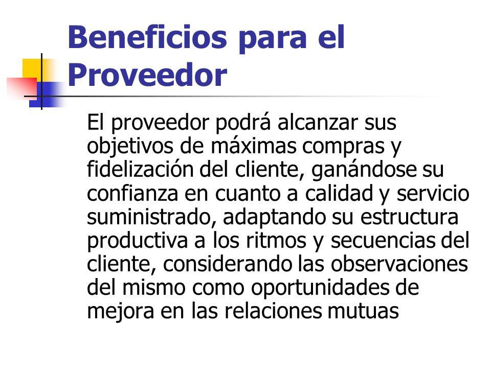 Beneficios para el Proveedor El proveedor podrá alcanzar sus objetivos de máximas compras y fidelización del cliente, ganándose su confianza en cuanto