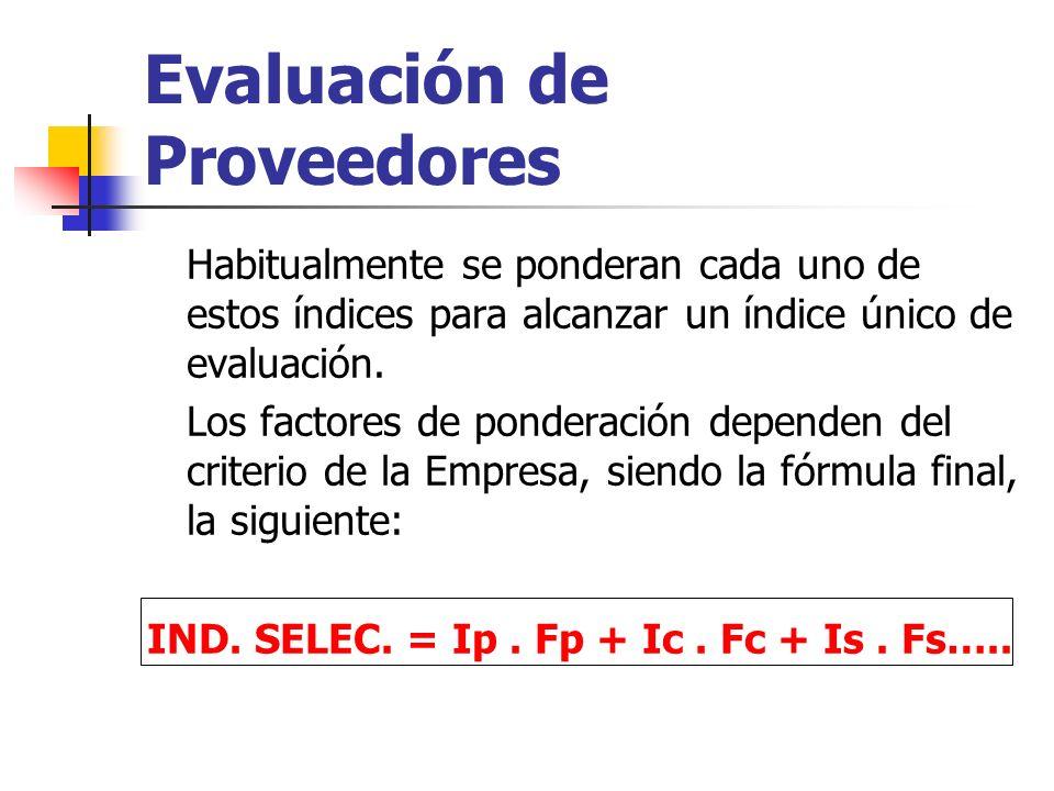 Evaluación de Proveedores Habitualmente se ponderan cada uno de estos índices para alcanzar un índice único de evaluación. Los factores de ponderación