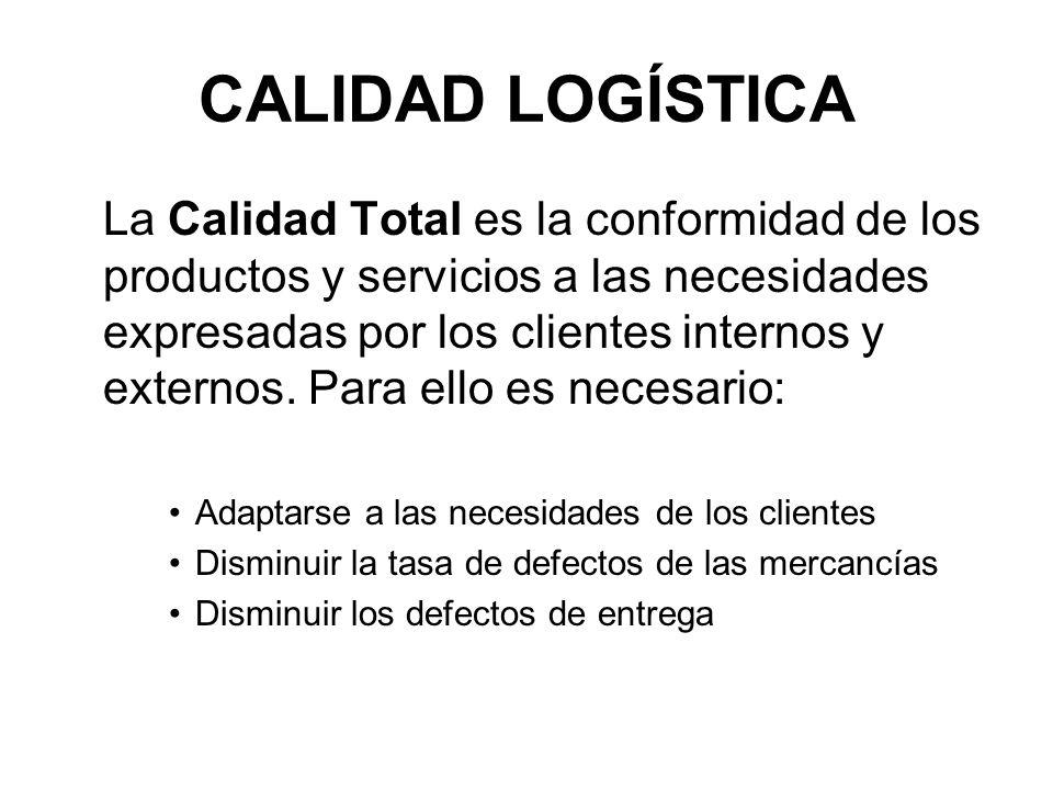 CALIDAD LOGÍSTICA La Calidad Total es la conformidad de los productos y servicios a las necesidades expresadas por los clientes internos y externos.