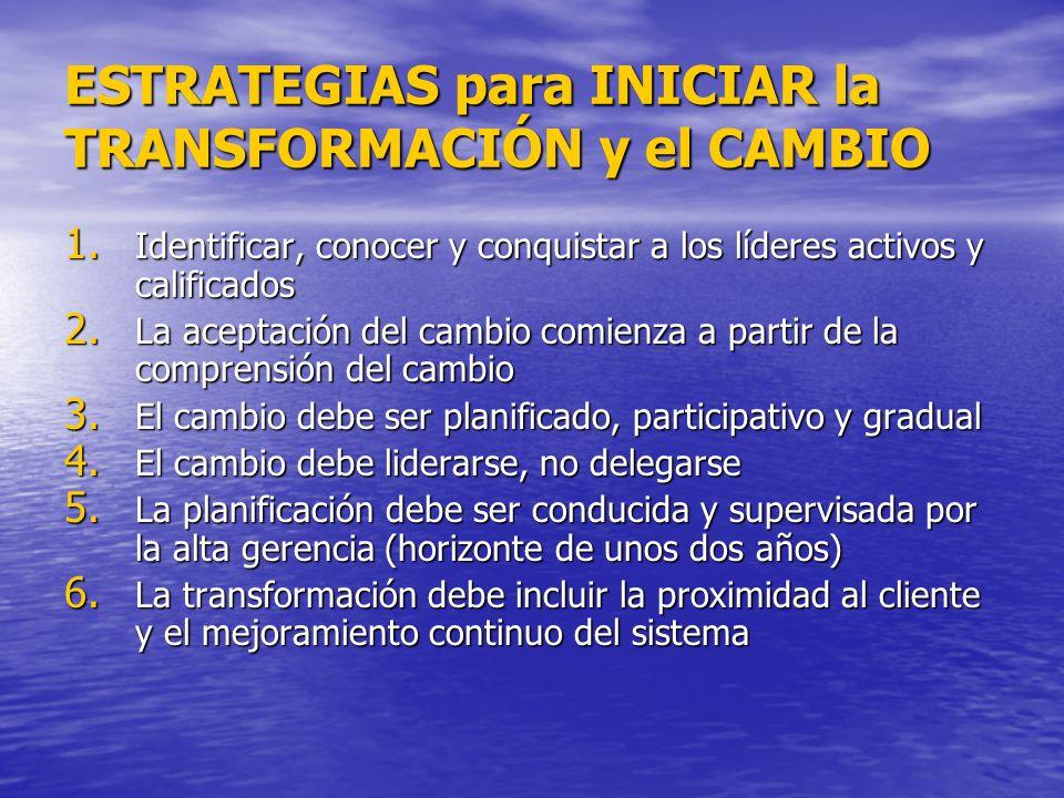 ESTRATEGIAS para INICIAR la TRANSFORMACIÓN y el CAMBIO 1. Identificar, conocer y conquistar a los líderes activos y calificados 2. La aceptación del c