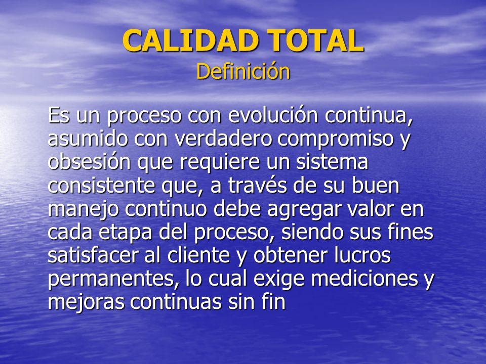 CALIDAD TOTAL Definición Es un proceso con evolución continua, asumido con verdadero compromiso y obsesión que requiere un sistema consistente que, a