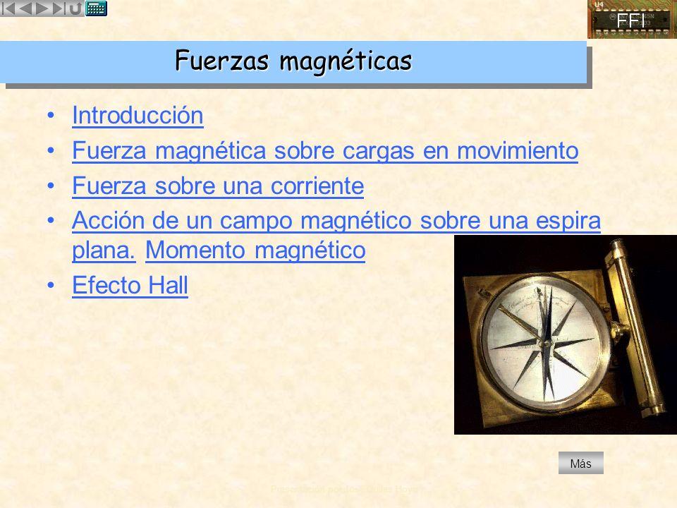 Presentación por José Quiles Hoyo MásMás Movimiento de una carga puntual en un campo magnético Selector de velocidades Espectrógrafo de masas Ciclotrón Motor eléctrico Fuerza magnética sobre corrientes Efecto Hall sobre una cinta metálica Momento magnético en una espira Fuerza magnética sobre una espira