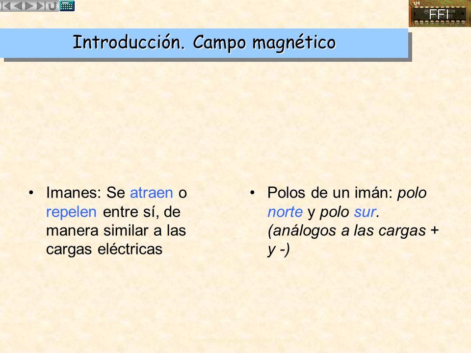 Presentación por José Quiles Hoyo Introducción. Campo magnético Imanes: Se atraen o repelen entre sí, de manera similar a las cargas eléctricas Polos