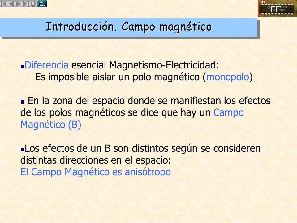 Presentación por José Quiles Hoyo Cuando una carga eléctrica q se mueve, con velocidad v, dentro de un campo magnético B, sobre ella aparece una fuerza F que: –Es proporcional a q y a v –Se anula cuando v va en una dirección determinada –Es perpendicular a la dirección anterior y a la de v –El sentido de F viene definido por la regla de la mano derecha, respecto de la dirección anterior y v –Es proporcional al seno del ángulo que forman dicha dirección y v Tipler, capítulo 28, Sección 28.1 Fuerza sobre una carga en movimiento
