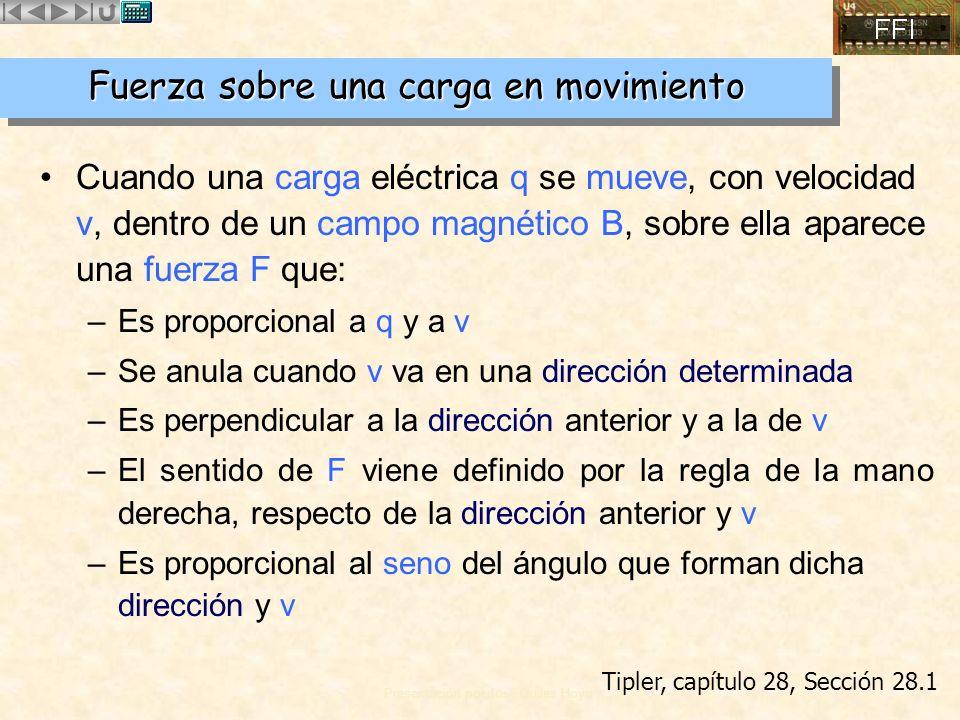 Presentación por José Quiles Hoyo Cuando una carga eléctrica q se mueve, con velocidad v, dentro de un campo magnético B, sobre ella aparece una fuerz