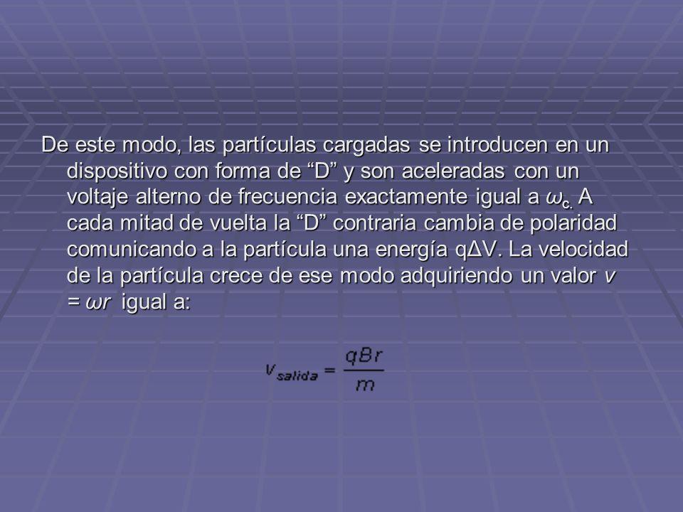 De este modo, las partículas cargadas se introducen en un dispositivo con forma de D y son aceleradas con un voltaje alterno de frecuencia exactamente igual a ω c.