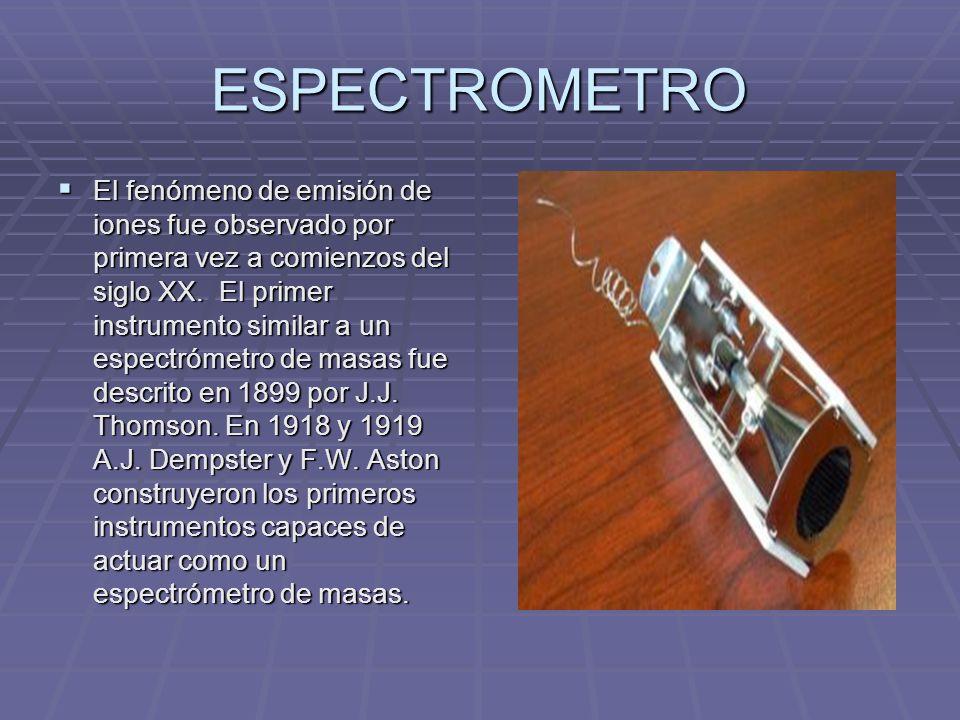 ESPECTROMETRO El fenómeno de emisión de iones fue observado por primera vez a comienzos del siglo XX. El primer instrumento similar a un espectrómetro