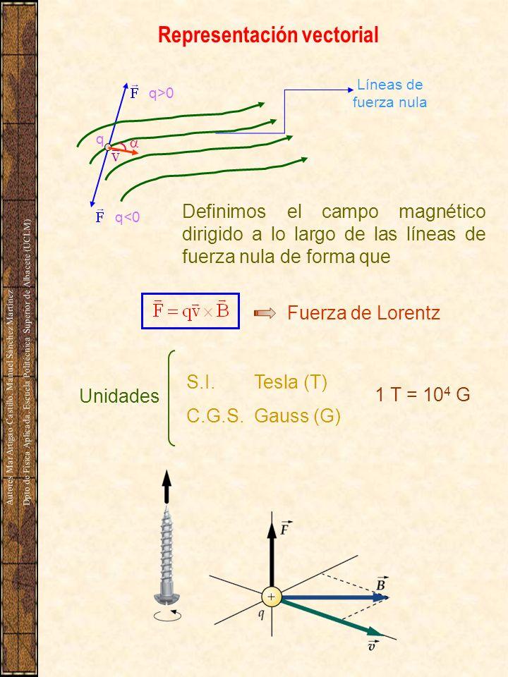 8.3 Movimiento de cargas en el seno de un campo magnético Ejemplo 1.- Ejemplo 1.- Partícula cargada que incide en dirección perpendicular al campo magnético.