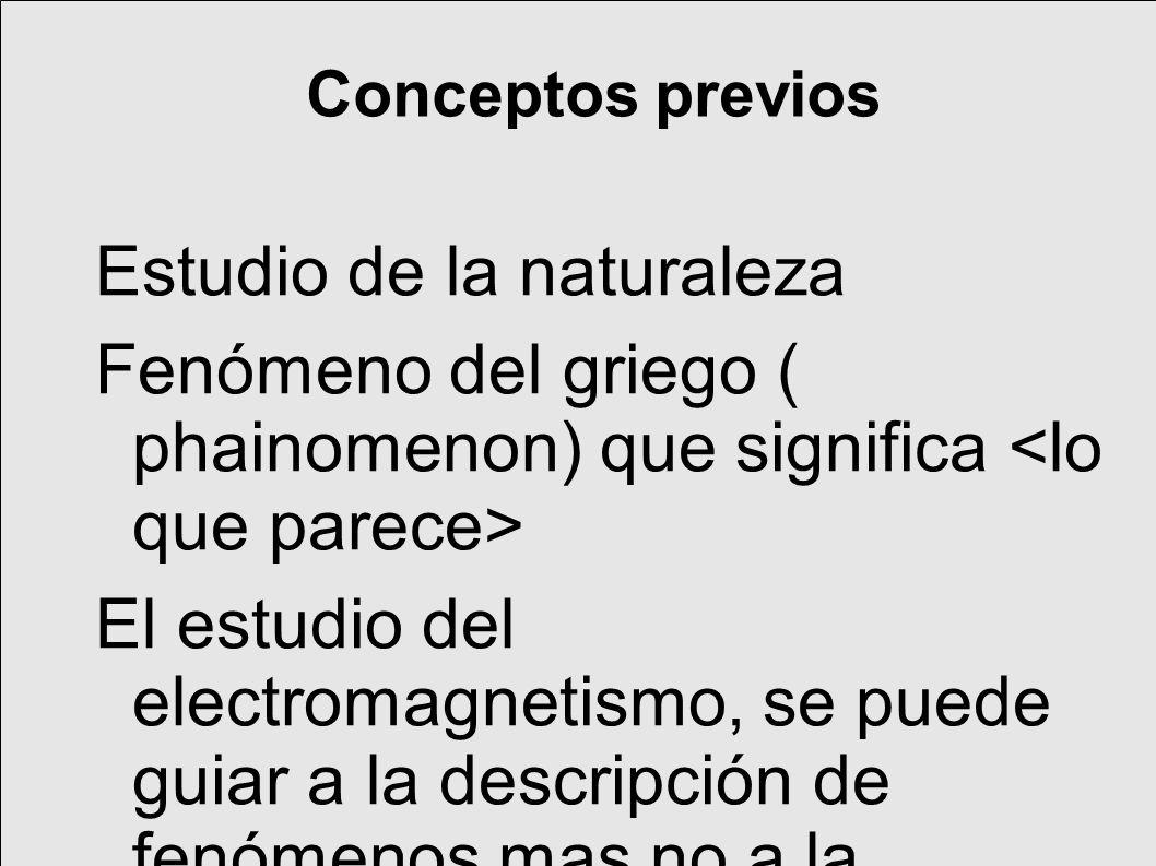 Conceptos previos Estudio de la naturaleza Fenómeno del griego ( phainomenon) que significa El estudio del electromagnetismo, se puede guiar a la descripción de fenómenos mas no a la explicación de estos.