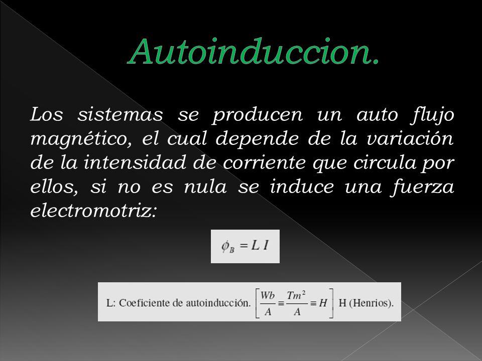 Los sistemas se producen un auto flujo magnético, el cual depende de la variación de la intensidad de corriente que circula por ellos, si no es nula s