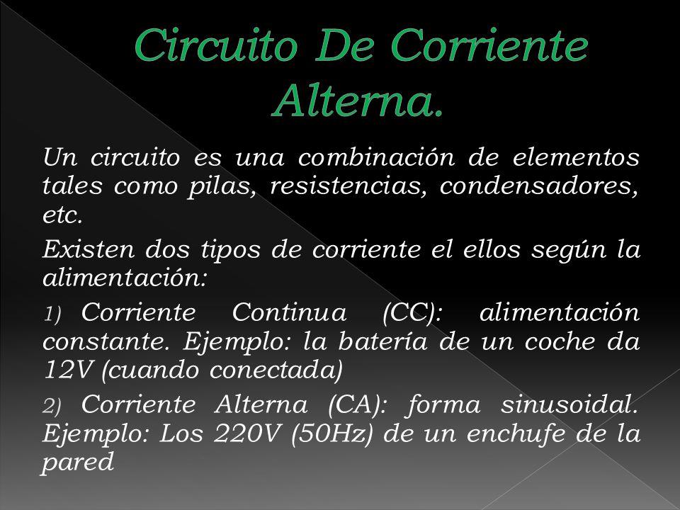 Un circuito es una combinación de elementos tales como pilas, resistencias, condensadores, etc. Existen dos tipos de corriente el ellos según la alime