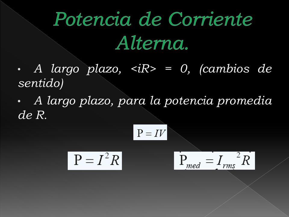 A largo plazo, = 0, (cambios de sentido) A largo plazo, para la potencia promedia de R.
