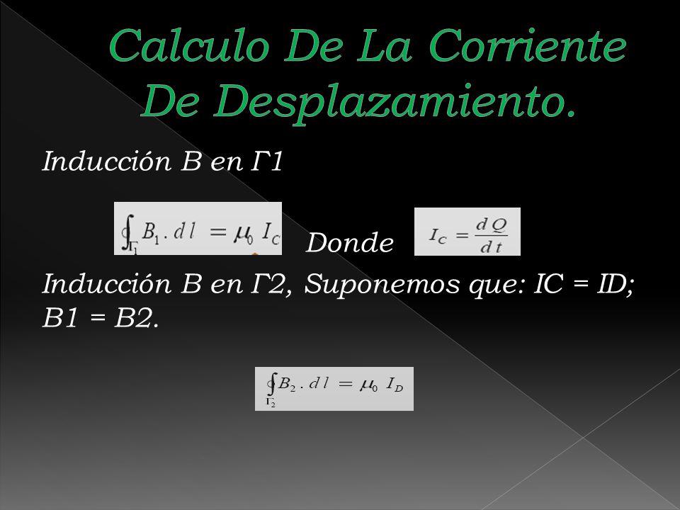 Inducción B en Г1 Donde Inducción B en Г2, Suponemos que: IC = ID; B1 = B2.