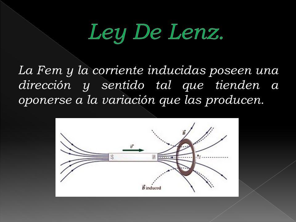 La Fem y la corriente inducidas poseen una dirección y sentido tal que tienden a oponerse a la variación que las producen.