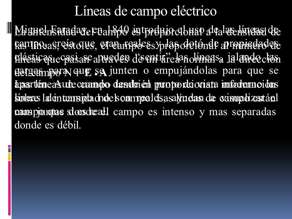 Miguel Faraday, en 1840 introdujo el uso de las líneas de campo, creía que eran reales y las dotó de propiedades elásticas, casi se pueden sentir las
