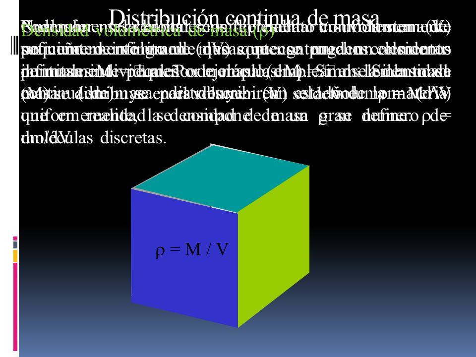 Podemos seleccionar un elemento suficientemente pequeño de volumen (dV) que contenga un elemento infinitamente pequeño de masa (dm). Si el elemento de