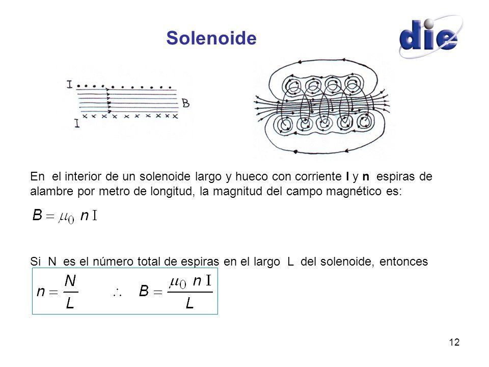 12 Solenoide En el interior de un solenoide largo y hueco con corriente I y n espiras de alambre por metro de longitud, la magnitud del campo magnétic
