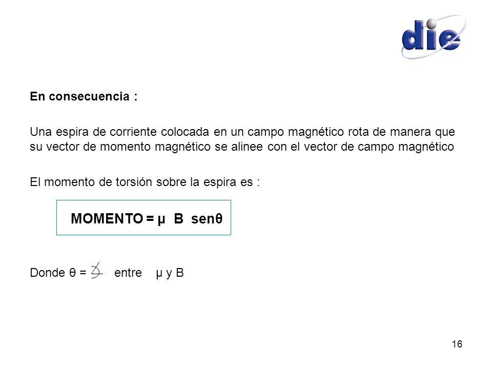 16 En consecuencia : Una espira de corriente colocada en un campo magnético rota de manera que su vector de momento magnético se alinee con el vector