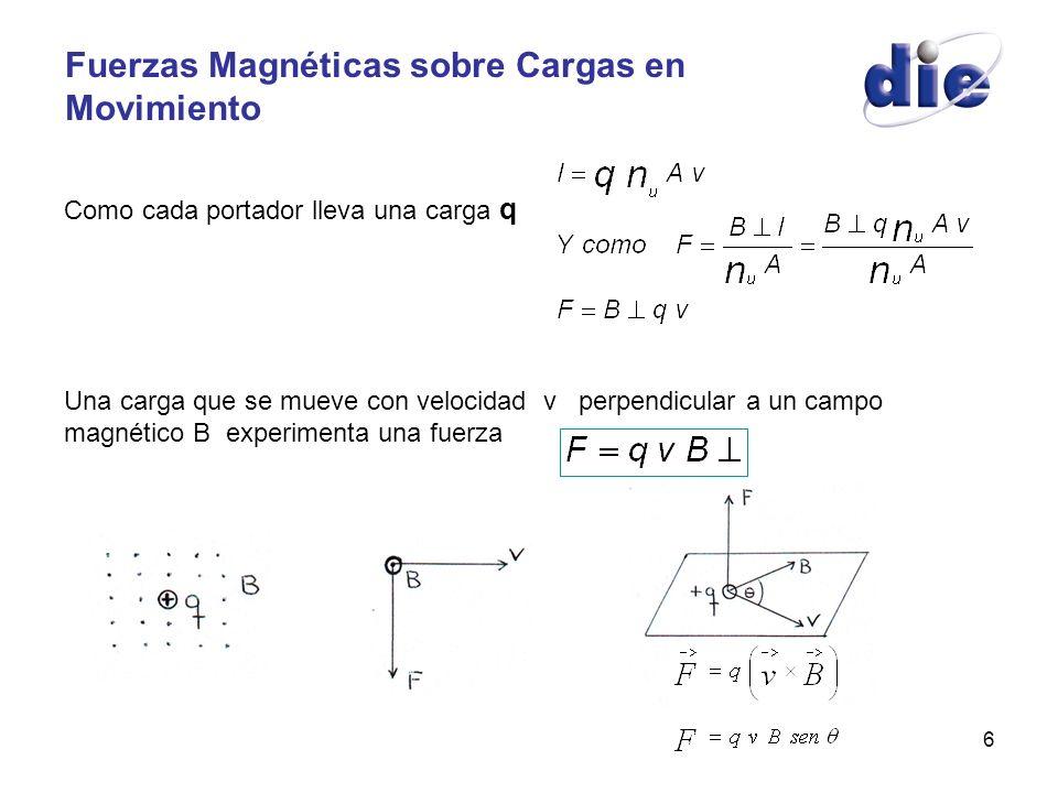 6 Fuerzas Magnéticas sobre Cargas en Movimiento Como cada portador lleva una carga q Una carga que se mueve con velocidad v perpendicular a un campo m
