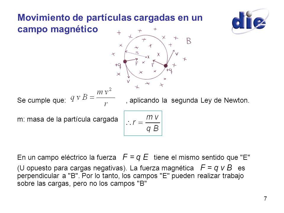 7 Movimiento de partículas cargadas en un campo magnético Se cumple que:, aplicando la segunda Ley de Newton. m: masa de la partícula cargada En un ca