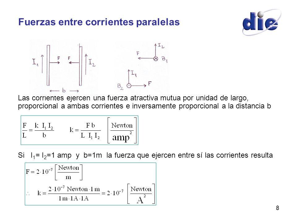 8 Fuerzas entre corrientes paralelas Las corrientes ejercen una fuerza atractiva mutua por unidad de largo, proporcional a ambas corrientes e inversam