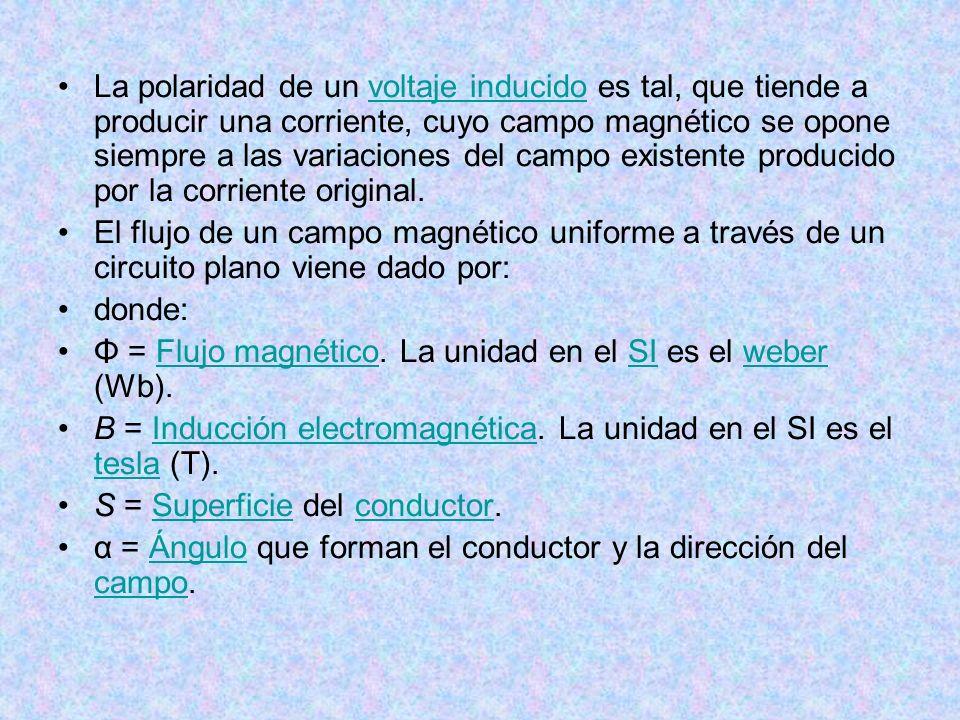 La polaridad de un voltaje inducido es tal, que tiende a producir una corriente, cuyo campo magnético se opone siempre a las variaciones del campo exi