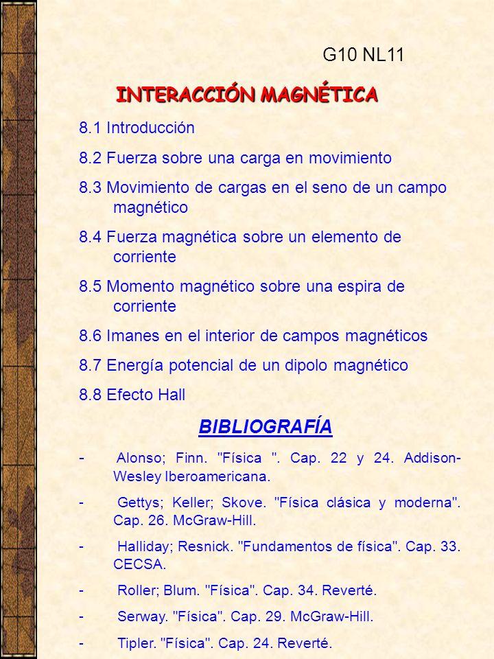 INTERACCIÓN MAGNÉTICA 8.1 Introducción 8.2 Fuerza sobre una carga en movimiento 8.3 Movimiento de cargas en el seno de un campo magnético 8.4 Fuerza m