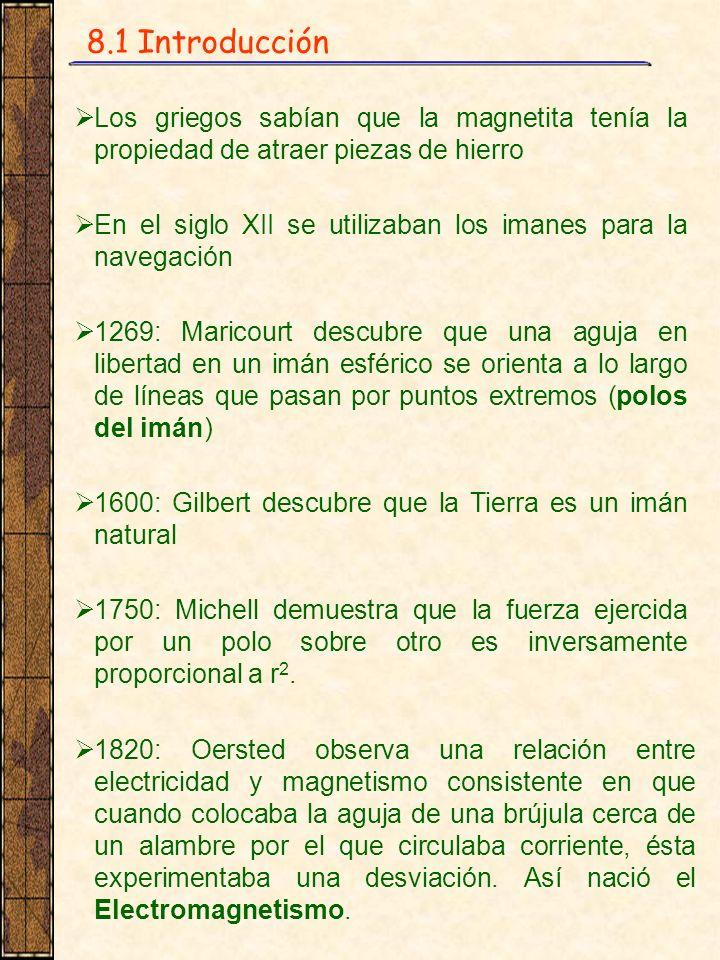 8.1 Introducción Los griegos sabían que la magnetita tenía la propiedad de atraer piezas de hierro En el siglo XII se utilizaban los imanes para la na