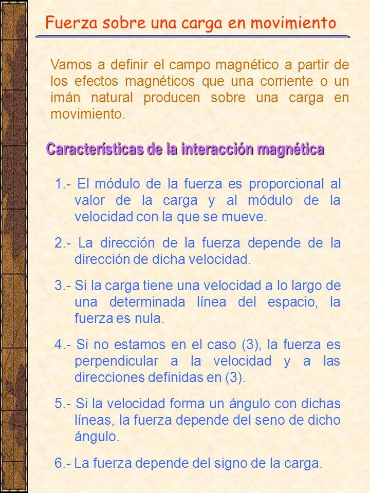 Fuerza sobre una carga en movimiento Vamos a definir el campo magnético a partir de los efectos magnéticos que una corriente o un imán natural produce