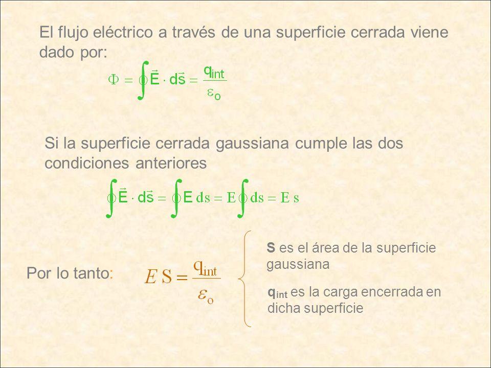 El flujo eléctrico a través de una superficie cerrada viene dado por: Si la superficie cerrada gaussiana cumple las dos condiciones anteriores Por lo