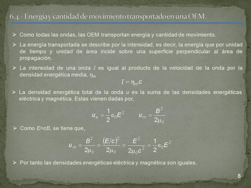 9 La densidad energética total es, Entonces la intensidad instantánea, también denominada como módulo del vector de Poynting, viene dada por, Y el vector de Poynting que apunta en la dirección de propagación de la energía es, De este modo la intensidad es el valor medio de la intensidad instantánea,