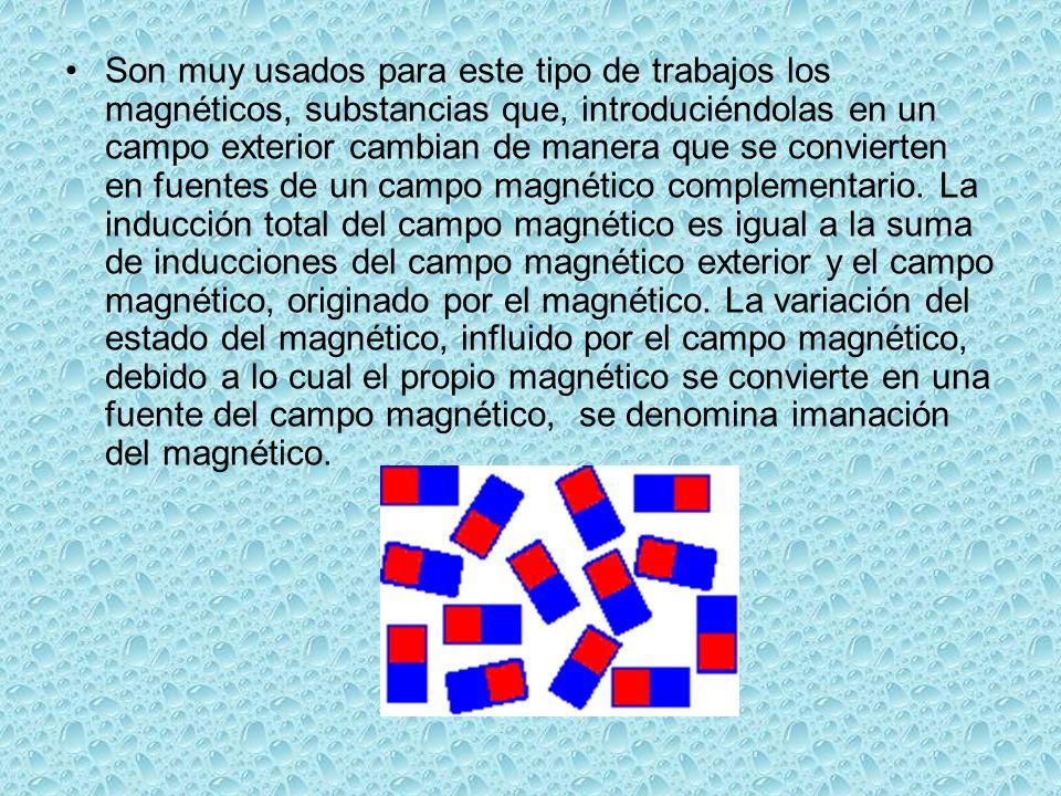 Los magnéticos se dividen en substancias: dia-, para-, ferro-, ferri- magnéticas.