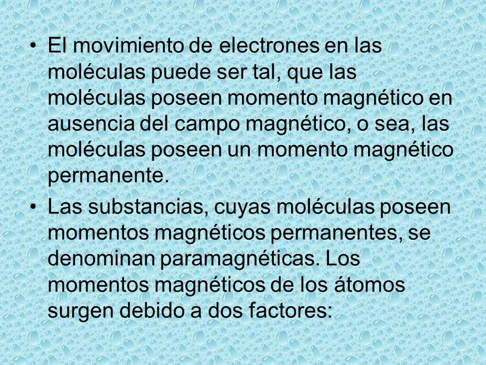 El movimiento de electrones en las moléculas puede ser tal, que las moléculas poseen momento magnético en ausencia del campo magnético, o sea, las mol