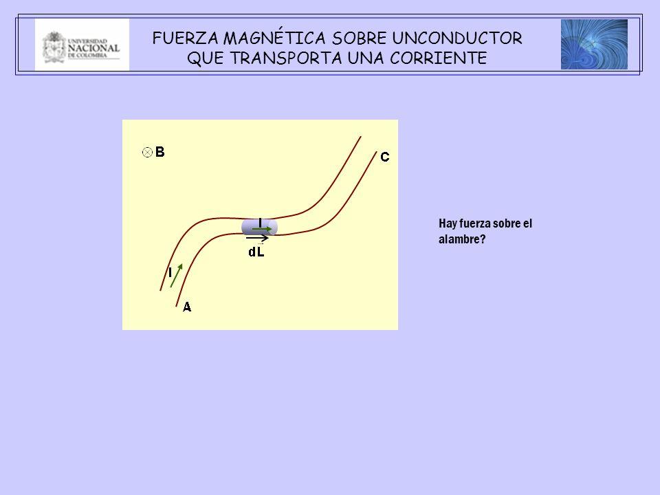 FUERZA MAGNÉTICA SOBRE UNCONDUCTOR QUE TRANSPORTA UNA CORRIENTE Hay fuerza sobre el alambre?