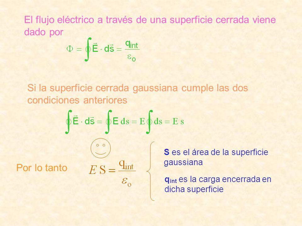 El flujo eléctrico a través de una superficie cerrada viene dado por Si la superficie cerrada gaussiana cumple las dos condiciones anteriores Por lo t