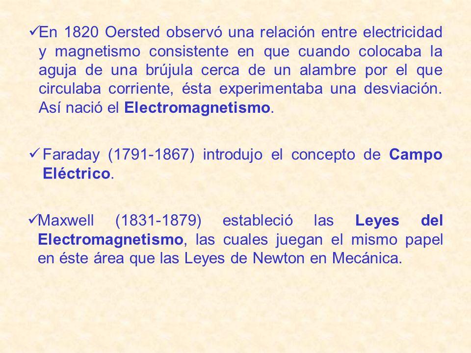 En 1820 Oersted observó una relación entre electricidad y magnetismo consistente en que cuando colocaba la aguja de una brújula cerca de un alambre po