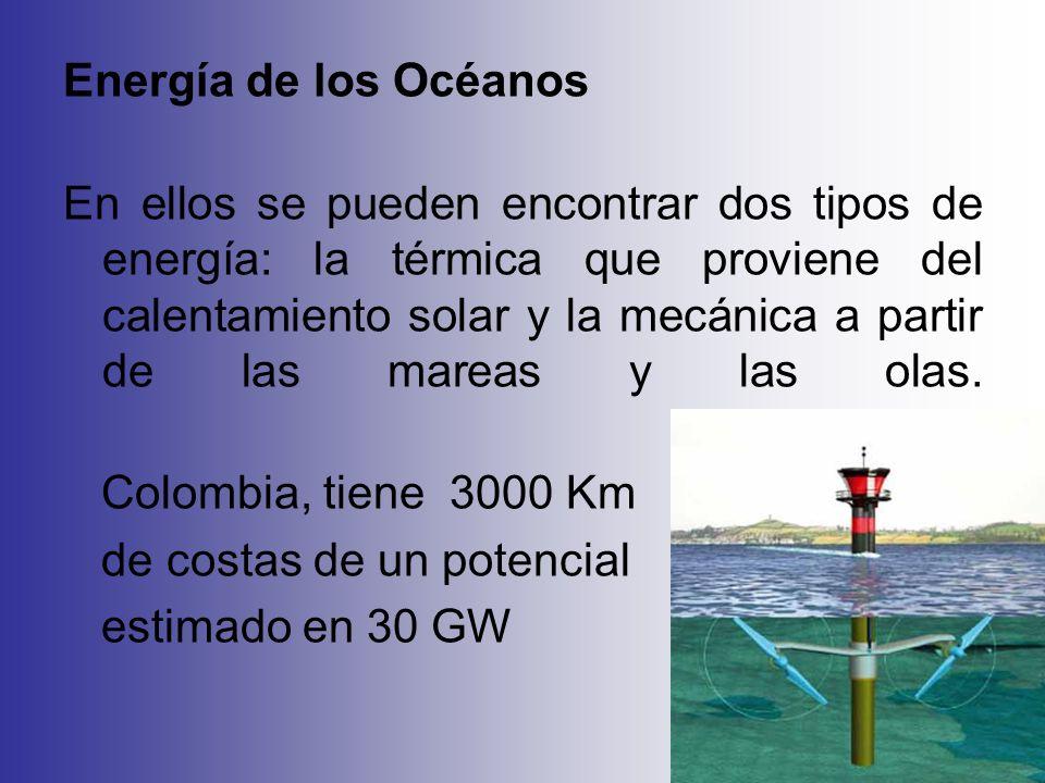 Energía de los Océanos En ellos se pueden encontrar dos tipos de energía: la térmica que proviene del calentamiento solar y la mecánica a partir de la