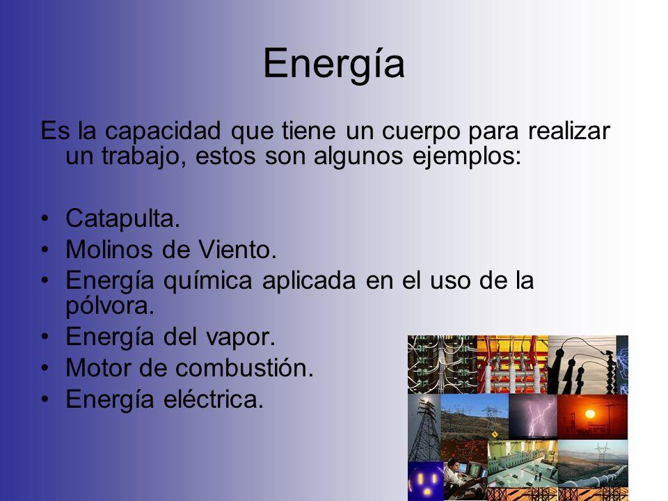 Energía Es la capacidad que tiene un cuerpo para realizar un trabajo, estos son algunos ejemplos: Catapulta. Molinos de Viento. Energía química aplica