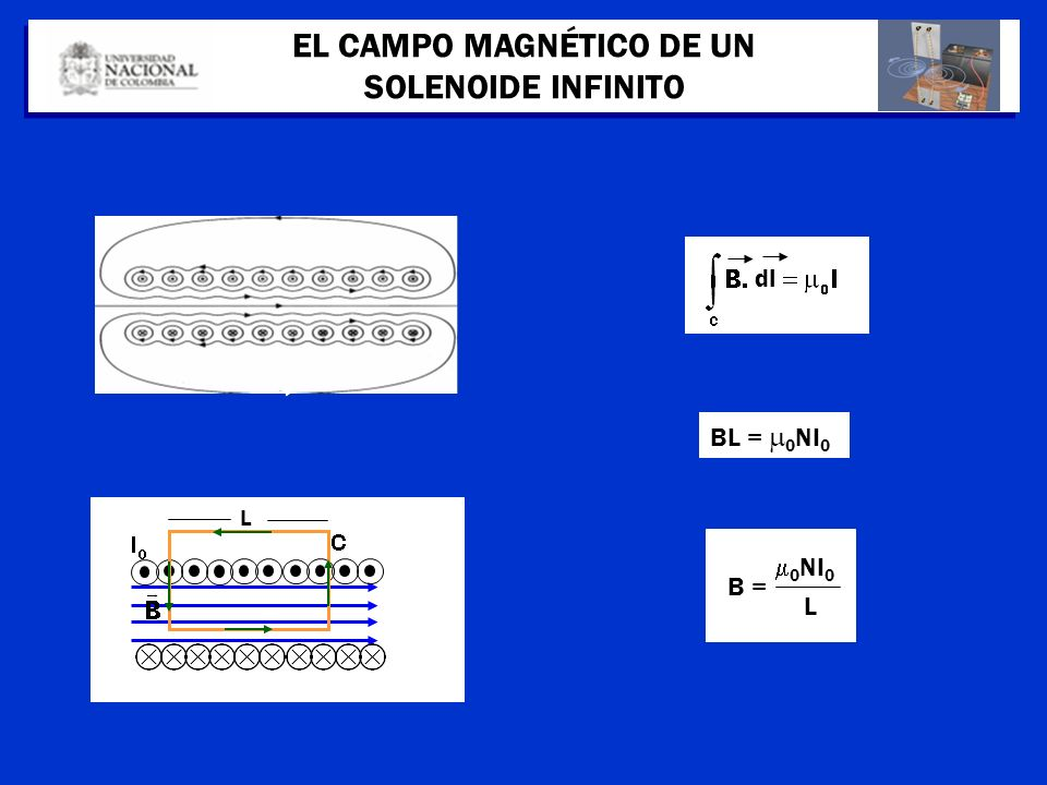 L EL CAMPO MAGNÉTICO DE UN SOLENOIDE INFINITO dl BL = 0 NI 0 B = 0 NI 0 L