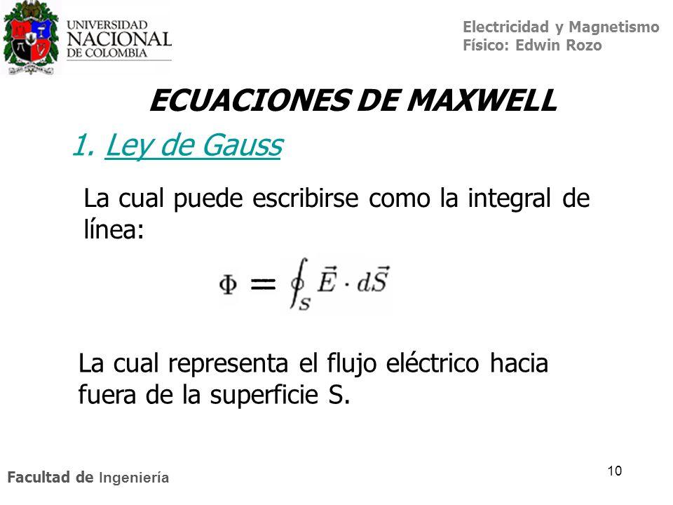 Electricidad y Magnetismo Físico: Edwin Rozo Facultad de Ingeniería 10 ECUACIONES DE MAXWELL La cual puede escribirse como la integral de línea: La cu