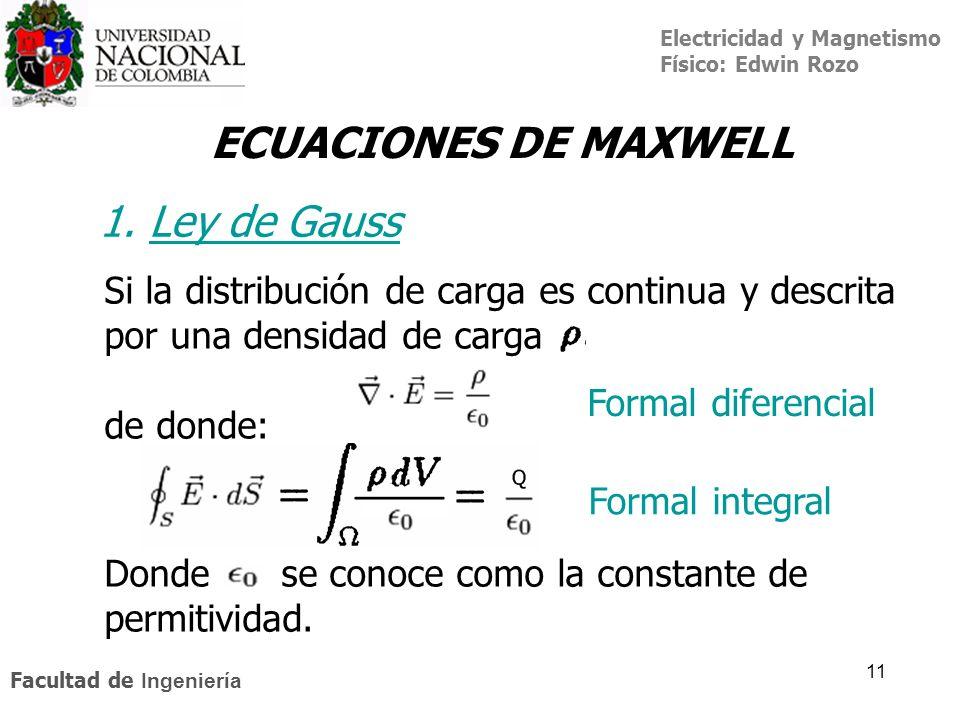 Electricidad y Magnetismo Físico: Edwin Rozo Facultad de Ingeniería 11 ECUACIONES DE MAXWELL Si la distribución de carga es continua y descrita por un