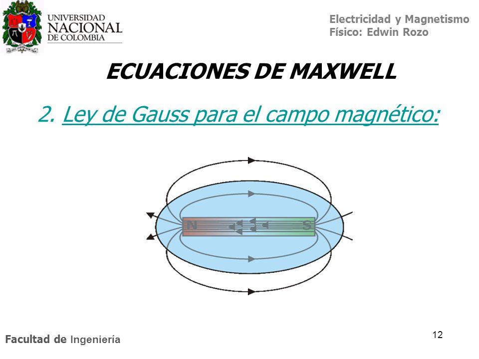 Electricidad y Magnetismo Físico: Edwin Rozo Facultad de Ingeniería 12 2. Ley de Gauss para el campo magnético:Ley de Gauss ECUACIONES DE MAXWELL