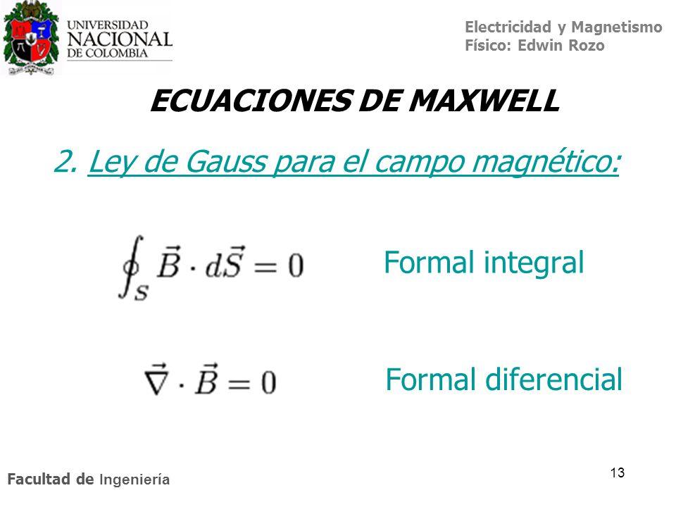 Electricidad y Magnetismo Físico: Edwin Rozo Facultad de Ingeniería 13 ECUACIONES DE MAXWELL 2. Ley de Gauss para el campo magnético:Ley de Gauss Form