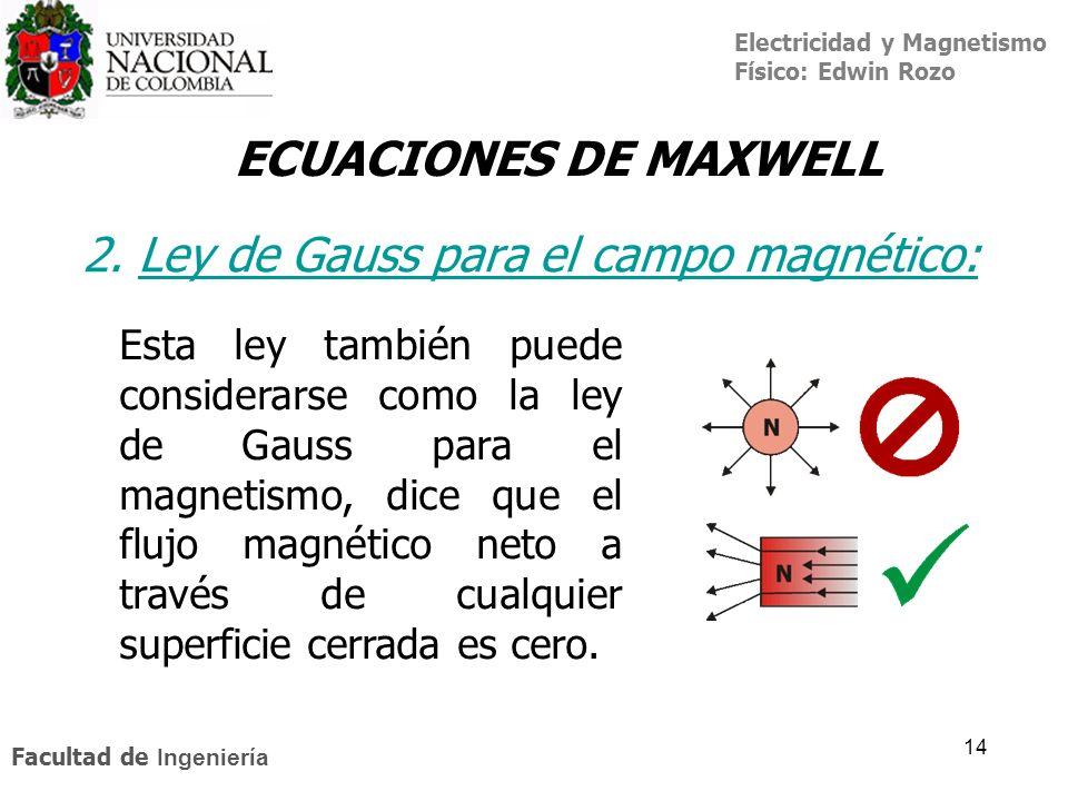 Electricidad y Magnetismo Físico: Edwin Rozo Facultad de Ingeniería 14 ECUACIONES DE MAXWELL 2. Ley de Gauss para el campo magnético:Ley de Gauss Esta