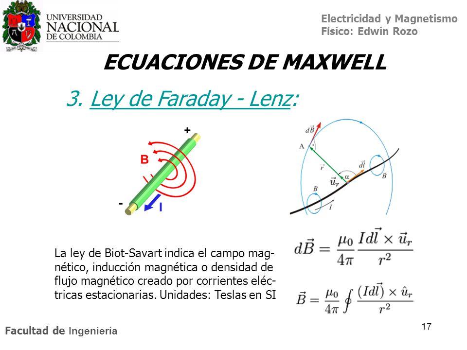 Electricidad y Magnetismo Físico: Edwin Rozo Facultad de Ingeniería 17 ECUACIONES DE MAXWELL 3. Ley de Faraday - Lenz:Ley de Faraday - Lenz La ley de