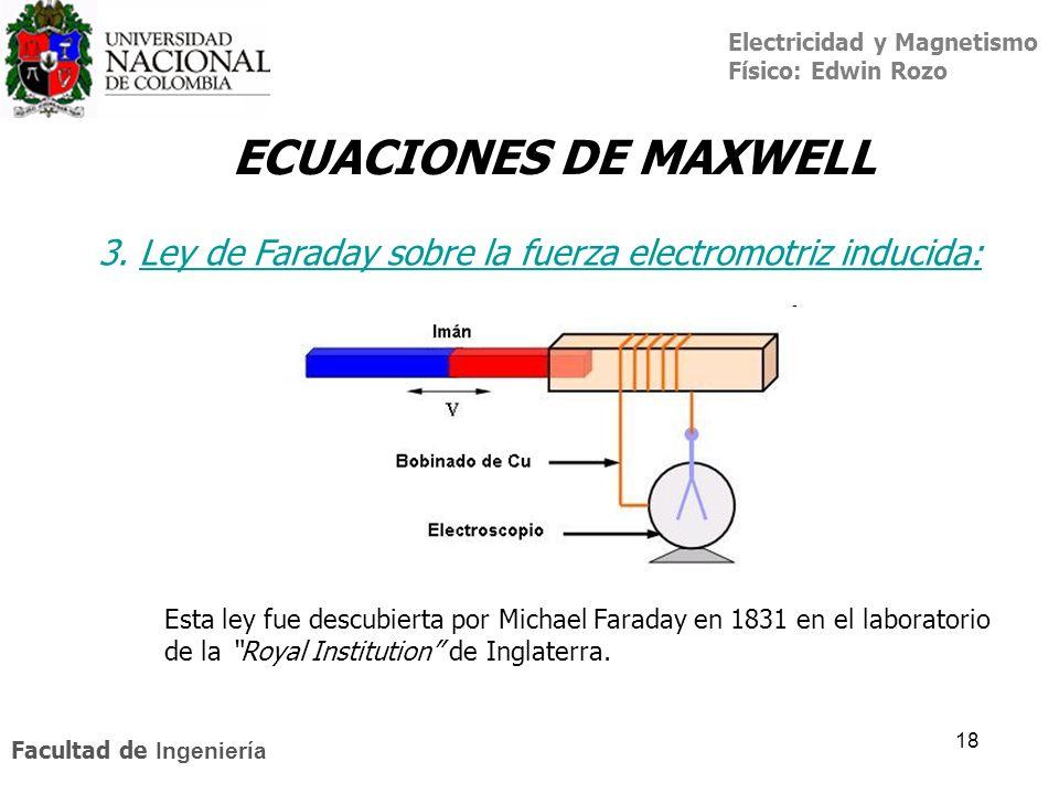 Electricidad y Magnetismo Físico: Edwin Rozo Facultad de Ingeniería 18 ECUACIONES DE MAXWELL 3. Ley de Faraday sobre la fuerza electromotriz inducida: